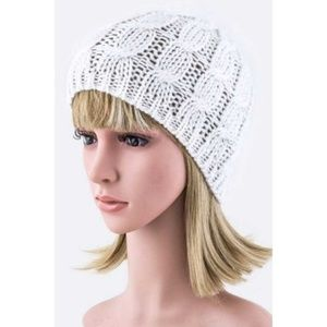White Cable Knit Beanie